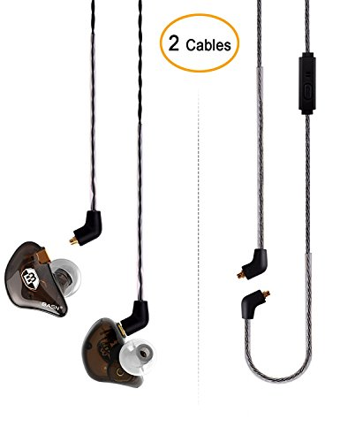 Driver Pro In Ear Earphones - BASN Bsinger+PRO Dual Drivers Headphones (Earbuds/Earphones) with MMCX Detachable Cables, Noise-Isolating In-Ear Monitor with Microphone and Remote