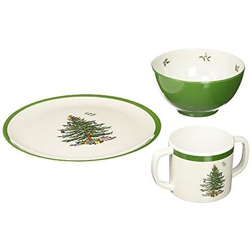 Spode Christmas Tree Melamine Childrenu0027s 3 Piece Set  sc 1 st  Amazon.com & Melamine Christmas Dinnerware: Amazon.com
