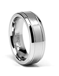 7MM Grooved High Polish Matte Finish Men's Cobalt Chrome Ring Wedding Band Sizes 6 to 12