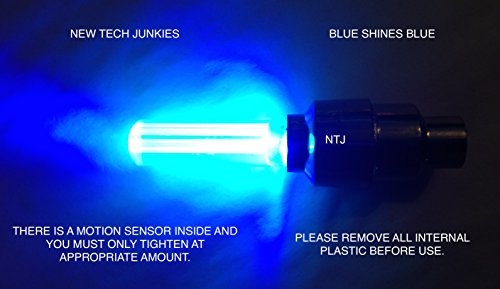NTJ (4 Pack) LED Motion Activated Bike Bicycle Wheel Valve Stem Cap Tire Light (Blue)