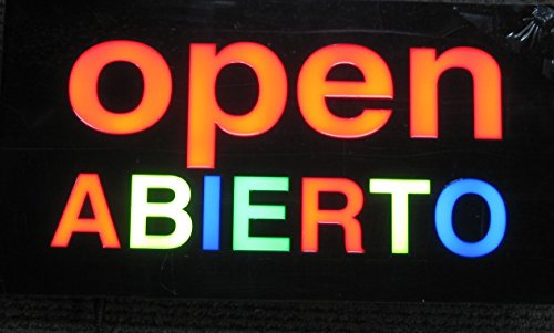 Lighted LED Resin Window Business Sign Sign OPEN ABIERTO Shop or Restaurant Non Neon Display 17