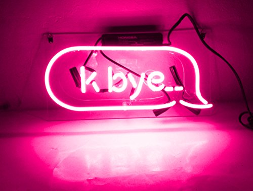 (New Beer Neon Wall Sign Pink 'K Bye' LED Lamp Light Sculpture for Beer Pub Home Hotel Beach Cocktail Recreational Game Room 14