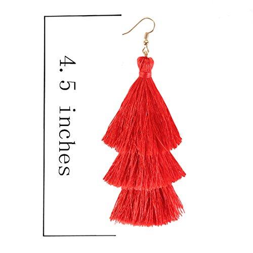 f5956c4e708180 ELEARD Tassel Earrings Tiered Thread Tassel Dangle Earrings Statement Layered  Tassel Drop Earrings (3 layers red) - ELEARD72918 < Earrings < Clothing, ...
