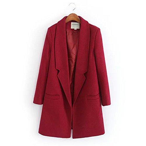 Pocket No buckle Wine Solid Red Lapel Women Long Color Coat sleeve Windbreaker DYF zvF8qnTPFx