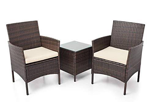 SUNCROWN Outdoor 3 Piece Bistro Set Wicker Chairs with Glass Top Table, Brown (Resin Bistro Wicker Set)
