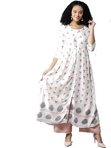 Women Off-White & Pink Printed A-Line Kurta By Dream Angel Fashion - White Cotton Off Salwar Kameez