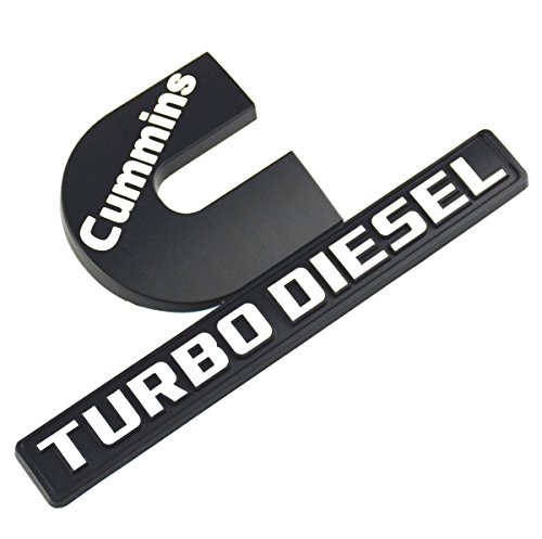 Aimoll Cummins Turbo Diesel Emblem,Badges High Output Nameplate Replacement Sticker for RAM 2500 3500 Fender Emblem Mopar (Black White)