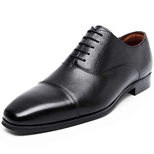 (DESAI Men's Formal Leather Cap Toe Dress Shoes Lace up Oxfords for Men (9.5 M US, Black))