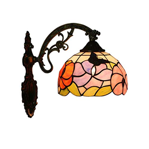 Glight Tiffany Style Wall Lamp, Church Stained Glass Butterfly Design Wall Light, Bedroom Bedside Lamp Living Room Balcony Aisle Staircase Wall Lamp