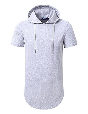 Aiyino Mens Hipster Hip Hop Short Sleeve Hoodie Side Zipper T-Shirt US X-Large Gray - Short Sleeve Zipper