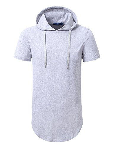 Aiyino Mens Hipster Hip Hop Longline Pullover Short Sleeve Hoodie Shirt US Medium Gray