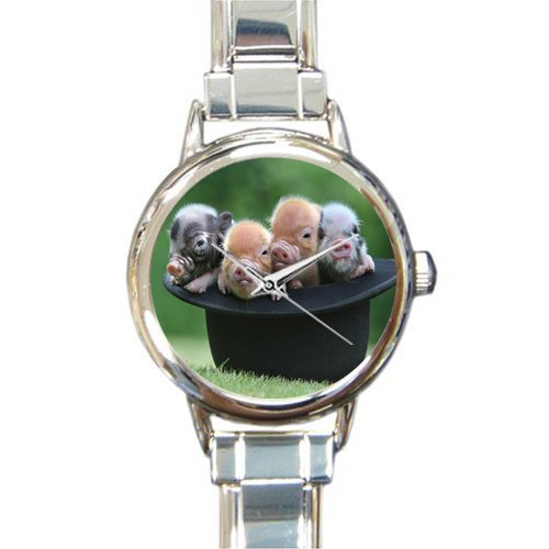 New Arrival!Personalzied Gifts Cute Piglet In A Hat Round Italian Charm Watch