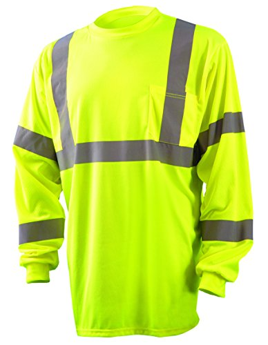 OccuNomix LUX-LSETP3B-YL Classic Standard Long Sleeve Wicking Birdseye T-Shirt with Pocket, Class 3, 100% ANSI Wicking Polyester Birdseye, Large, Yellow (High Visibility)