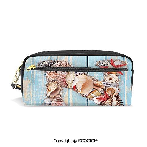 Students PU Pencil Case Pouch Women Purse Wallet Bag Oceanic Invertebrates Alphabet ABC Marine Shells and Starfishes Decorative Waterproof Large Capacity Hand Mini Cosmetic Makeup Bag