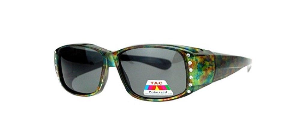 Polarized Rhinestone Fit Over Lens Cover Sunglasses - Green Flower