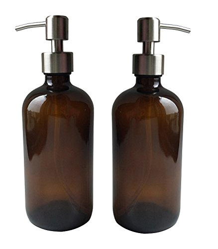 CFF 2 Pack,16oz Amber Glass Boston Bottles with Stainless Steel Pumps, Glass Essential Oil Bottles, Glass Lotion Bottles, Glass Soap Bottles,Hand Washing Lotion Dispenser by CFF