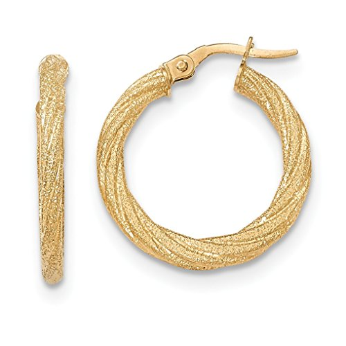 14K Yellow Gold Textured Post Hoop Earring - (0.87 in x 0.08 in) 14k Gold Textured Hoop Earrings