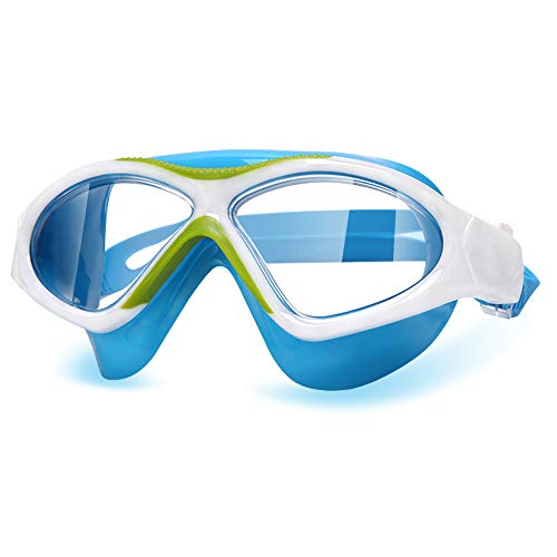 Peacoco Kids' Wide Swim Goggles, Swimming Goggles for Kids Soft Big Silicone Frame No Leak and Comfortable Anti Fog Swimming Goggles for Girls Boys (Light Blue)