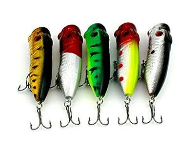 Hengjia 5pcs/lot top water popper plastic fishing lures wobble bass crank fishing baits tackles 6.5cm 13g