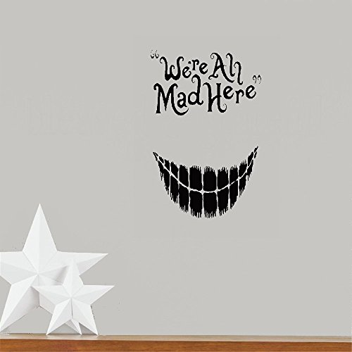 Peter Mad Cat - logot Quote Mirror Decal Quotes Vinyl Wall Decals We All Mad Here Cat Smile Alice Fairytale Word Dorm Bedroom