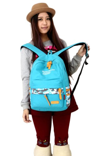 Medium Size Canvas Backpack School Bag Travel Bag Computer Bag (sky blue)