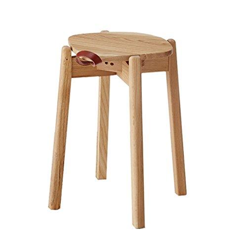 AIDELAI Bar Stool chair- Low Stool Solid Wood Stool Simple Modern Fashion Creative Make-up Stool Bench Vintage White Oak Round Stool Saddle ()