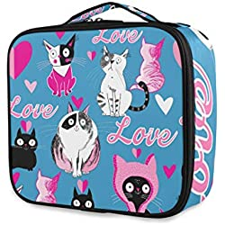 ATONO Cute Cats In Love With Hearts Portable Makeup Bags Professional Cosmetic Toiletry Travel Box Organizer Compartments Case Multifunction Storage Waterproof Adjustable Dividers for Girls&Women
