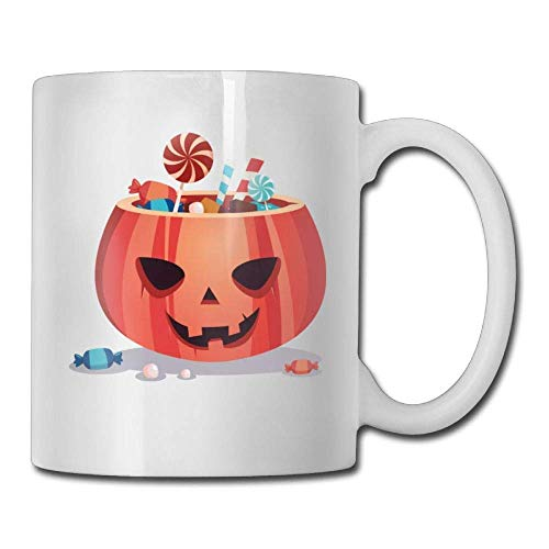 Halloween Pumpkin Face Candy 11oz Ceramic Coffee Mugs Idea Birthday Christmas Inspirational Gift ()