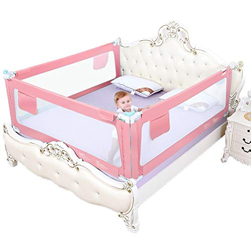 (HENGYUS Bed Rail Guard for Kids Full Size Queen King Mattress Stable Structure Seamless Stitching Extra Long with Reinforced Anchor Safety System (Color : Pink, Size : 180x150x90))