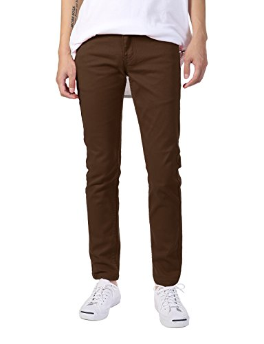 - JD Apparel Men's Basic Casual Colored Skinny Fit Twill Pants 32Wx30L Brown
