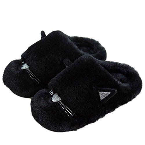 CHUANGLI Cute Cat Winter House Slipper Cozy Plush Anti-slip Outdoor/Indoor Shoes Slipper Bedroom Footwear Black V9dX3