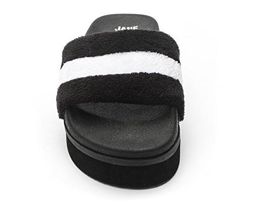 Jane Og Sko Kvinders Jemma Platform Slide Sandal Sort / Hvid pDVb1c