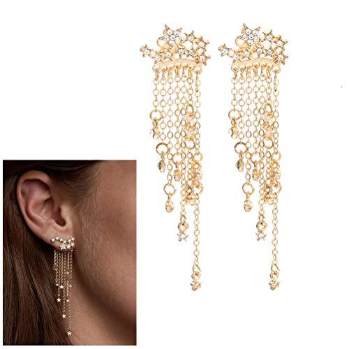 - JUESJ Shooting Star Long Tassel Dangle Earring for Women Girls (Gold)