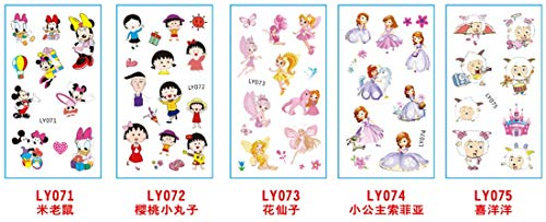 5 Sheets Cartoon Kids Temporary Tattoos Body Sticker - for Boys Girls Teens - Waterproof Colorful Tattoos | Mickey Mouse and Friends | Unicorn | Removable, NONTOXIC -