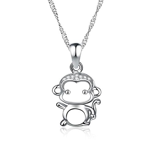 Sterling Silver Monkey Charm - LovelyJewelry Cute Small Monkey Charm Sterling Silver Pendant Necklace Fashion For Girl 18