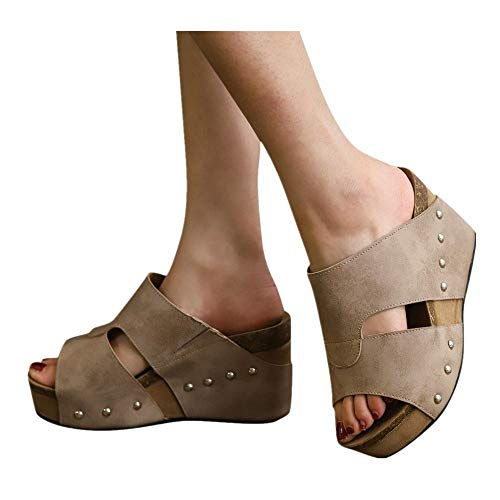 (Women Platform Wedges Sandals - Summer Cutout Open Toe Ankle Strap Beach Dress Wedding Shoes (Beige -4, US:8.5))