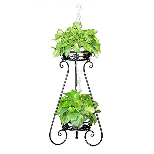 AISHN Indoor Display Rack Double Basin Classic Finial Plant Stand/Plant Stand with Finial (Black) by AISHN