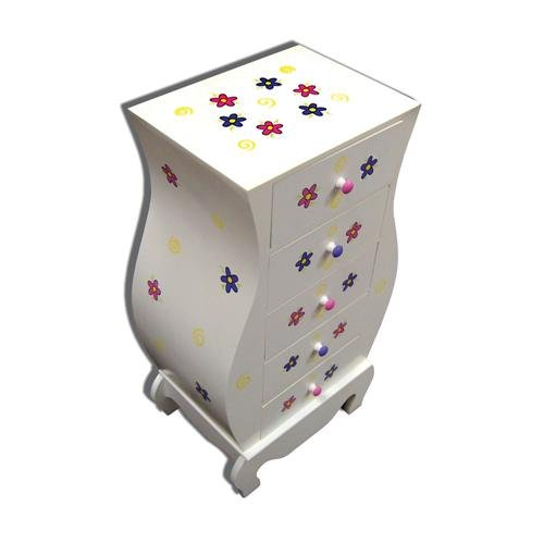 LC Creations Springtime Daisies Handpainted Vase Cabinet, White