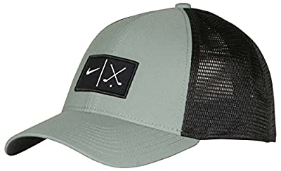 NIKE Unisex Mesh Fitted Golf Hat Cap-Clay Green/Black