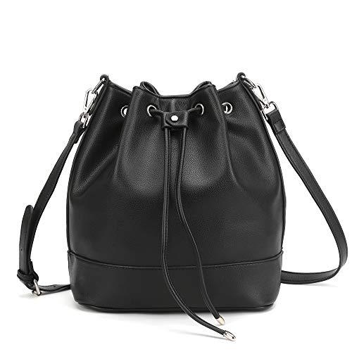 AFKOMST Drawstring Bucket Bag for Women Large Crossbody Purse and Shoulder Tote Handbags Black