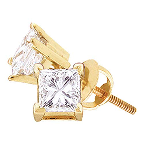 (Jewel Tie Solid 14k Yellow Gold Princess Cut Diamond Solitaire Screwback Stud Earrings (1/2 Cttw.))