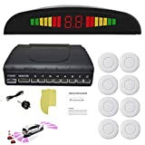 Car Parking Sensor 8 Reversing Sensors Kit White Reverse Backup Radar System Assistance with Front and Rear Human Voice Alert Alarm Reminder + Distance Detection + LED Display