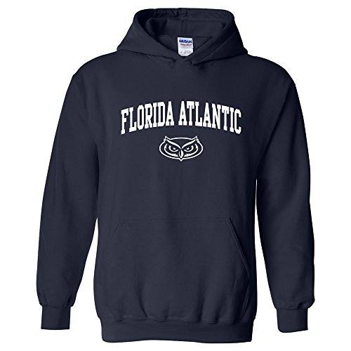 Florida Atlantic University Basketball - AH03 - FAU Owls Arch Logo Hoodie - Small - Navy