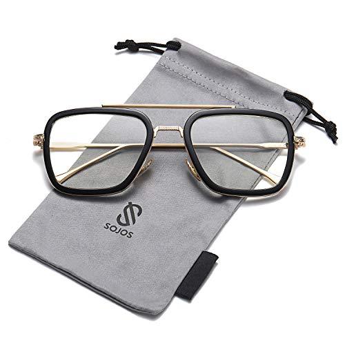SOJOS Retro Aviator Square Sunglasses for Men Women Goggle Classic Alloy Frame Gradient Flat Lens Hero SJ1126 with Gold Frame/Black Rim/Clear ()