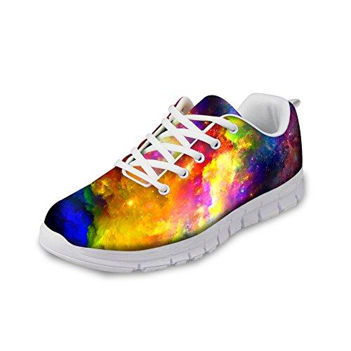 Voor U Ontwerpen Fashion Galaxy Print Heren & Dames Ademend Lichtgewicht Lace Up Sneakers Hardloopschoenen Galaxy-3