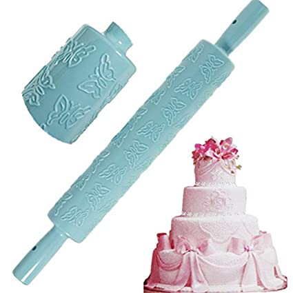 Free Shipping] erfly Rolling Pin Fondant Cake Paste Embossing ... on