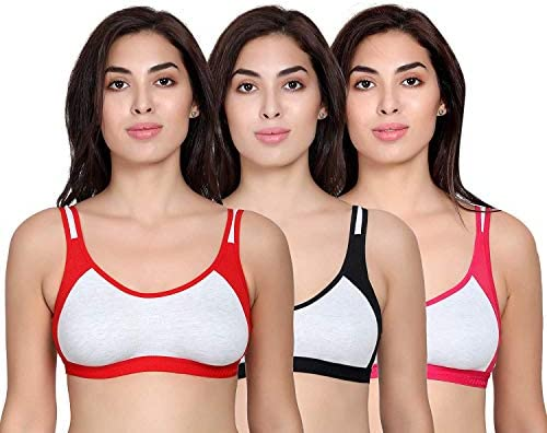 Vibrant Fashion Women's Cotton Non Padded Daily Workout Sports Gym Bra Combo- Pack of 3 Size (30-40 in) (30, Multicolored)