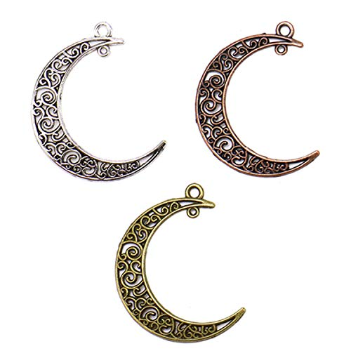 JETEHO 40 Pcs Alloy Hollow Moon Charms Craft Supplies Charms Pendants for DIY Necklace Bracelet Jewelry Making Crescent Moon Pendant Bead