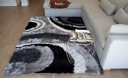 LA 3D Shag Shaggy Striped Woven Braided Hand Knotted Feizy Accent Fluffy Fuzzy Modern Contemporary Plush 8-Feet-by-10-Feet Polyester Made Area Rug Carpet Rug Black Off White Gray Grey Silver Colors ()
