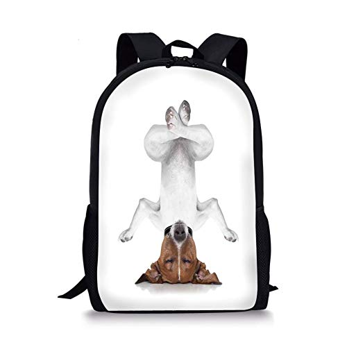 School Bags Yoga Decor,Dog Upside Down Relaxing with Closed Eyes and Doing Yoga Calm Therapy Humor Animal Print,White Brown for Boys&Girls Mens Sport Daypack -